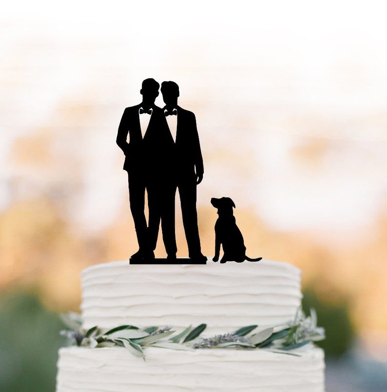05fe11f0ef5396 Gay Wedding Cake topper with dog gay silhouette cake topper image ...