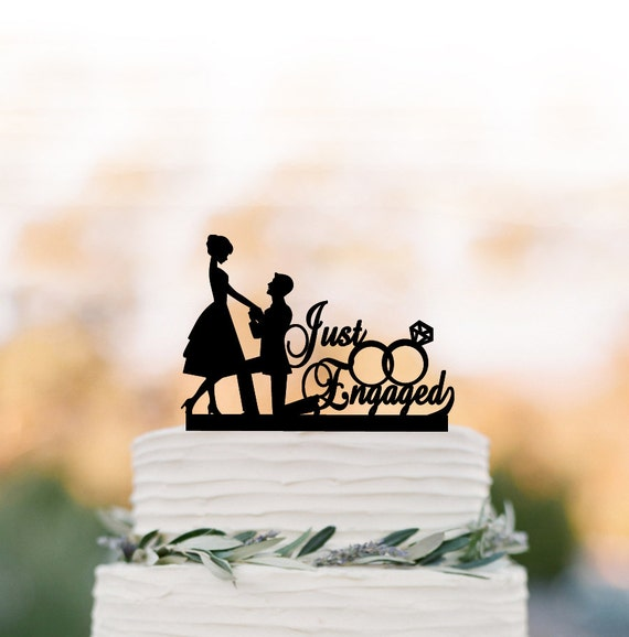 Just Engaged Wedding Cake Topper Funny Bride And Groom Cake Etsy