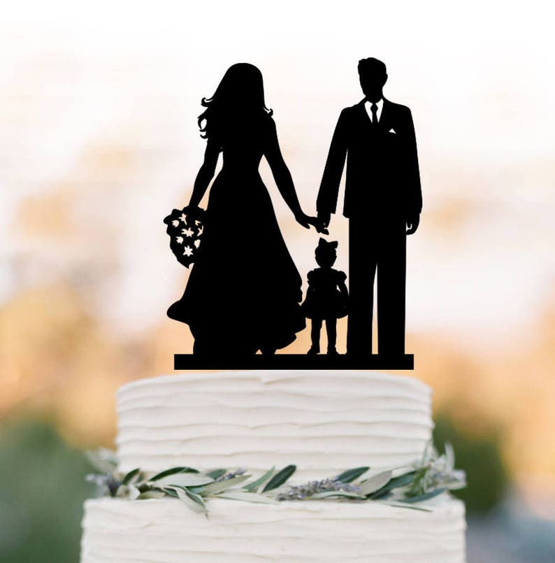 fa59d7562152cd bride groom with daughter silhouette Wedding Cake topper with image 0 ...
