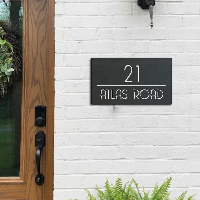 sign plaque house sign outdoor sign with letters 16x28cm horizontal door sign door number address sign number House numbers horizontal