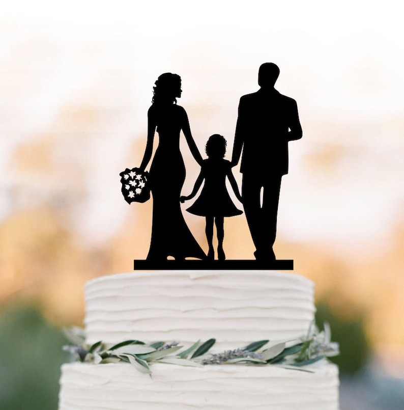 Funny Wedding Cake Topper With Girl Bride And Groom Silhouette Wedding Cake Toppers Family Wedding Cake Toppers With Child