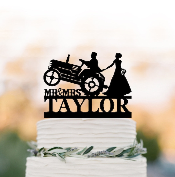 Outdoors tractor wedding cake topper Farmer wedding cake | Etsy