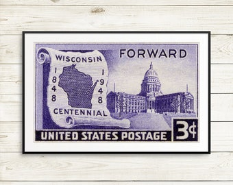 Wisconsin Posters Gifts Decor Stamp Postage Wall Art Map