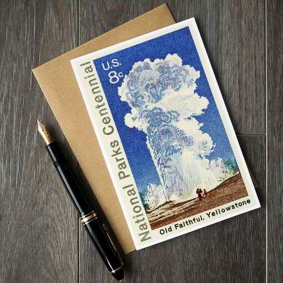 Old Wierna Karta Urodzinowa Park Narodowy Yellowstone Cards Etsy