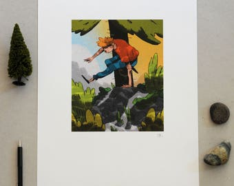 Leaping Forest Poster, A3 Print