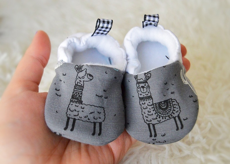 50df82d9c2527 Baby boy moccasins stay on soft sole Llama print fabric shoes, Unique Llama  baby shower gift, Gift for toddler, Easter basket stuffers