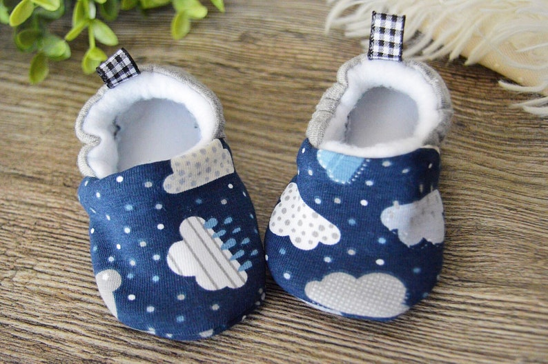 286d476749d7d Baby boy moccasins stay on soft sole clouds print fabric shoes, unique baby  shower gift, gift for newborn, gift for toddler