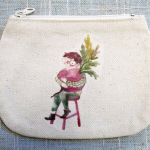 Watercolor /& ink  illustration printed small canvas pouch