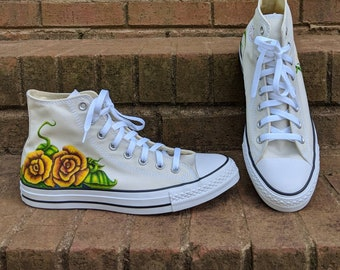 ddc4f0a5ced Converse High Tops w  Original Yellow Roses Art. W11 M9. Hand Drawn One of  a Kind. Summer Wedding. Boho. Festival. Sneakers. Chucks.