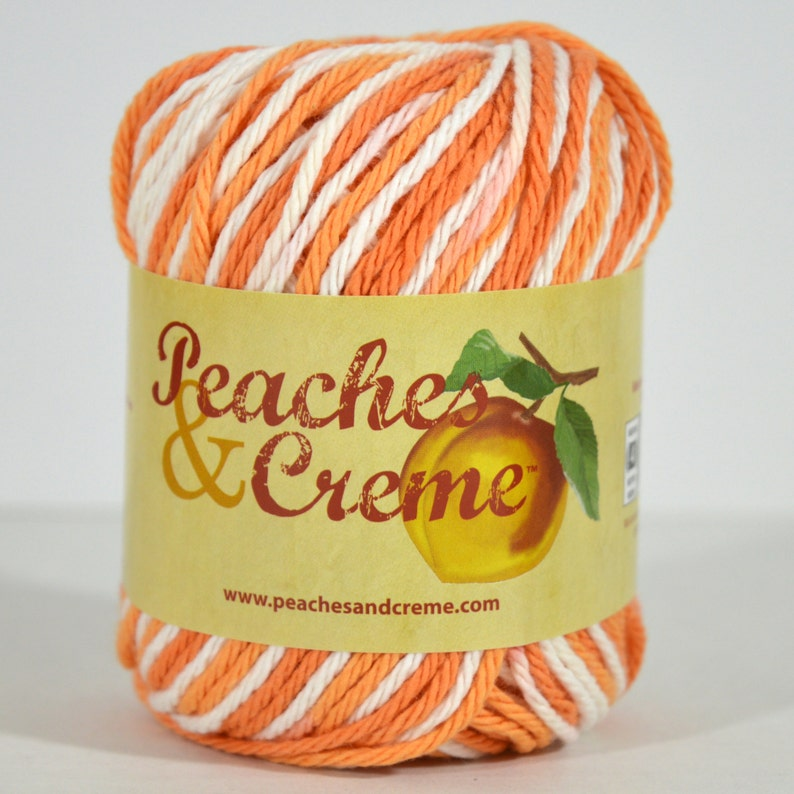Peaches Creme Cream Cotton Yarn Variegated Poppy Shades Etsy