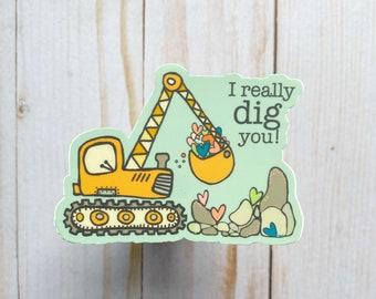 Digger Sticker//Backhoe sticker//Excavator Sticker//Stickers for Boys//Construction Sticker