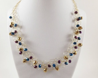 Gold Beaded Necklace, Bib Necklace Crystal Necklaces, Rondelle Necklace Crystal Statement Necklace Gold Necklaces for Women Crochet Necklace