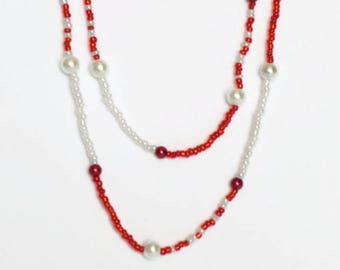 Long Necklace Red White Necklace Canada Necklace Delicate Necklace Seed Bead Necklace Layered Necklace Beaded Necklace Canada Day Jewelry