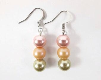 Dangle Earrings, Beaded Earrings Drop Earrings, Modern Earrings Statement Earrings, Dainty Earrings, Mom Gift Pink Earrings, Simple Earrings