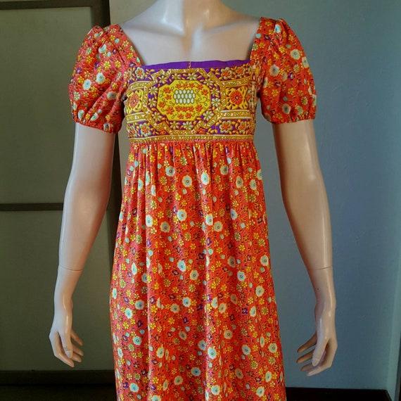 1970s Vintage Empire Waist Maxi Dress By Campus Ca