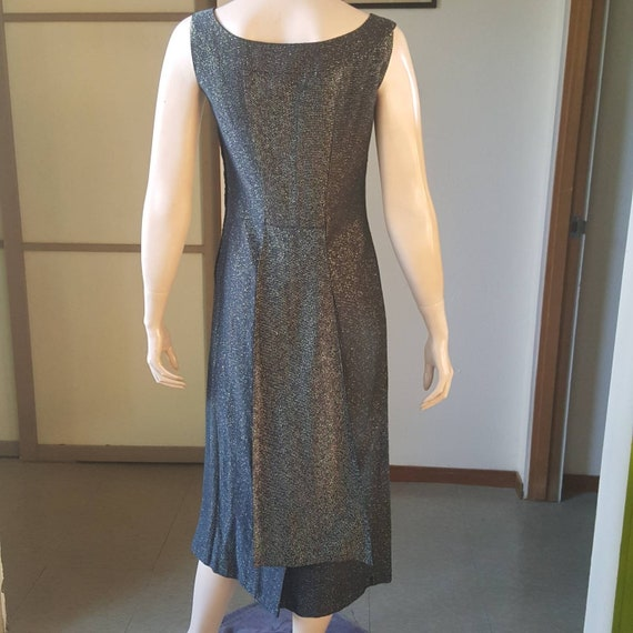 1950s Lurex Wiggle Dress With FishTail Back 27W - image 7
