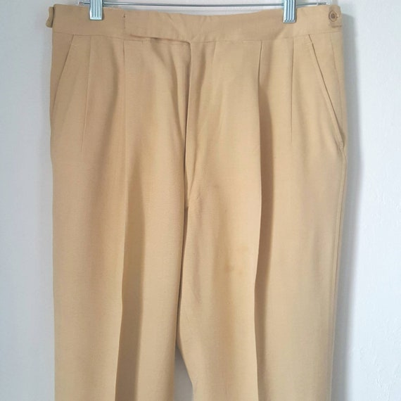 1940s Vintage Yellow Palm Beach Pants With Side C… - image 4