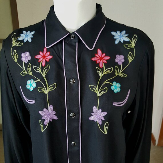 1950s Style California Ranchwear Black Gabardine E