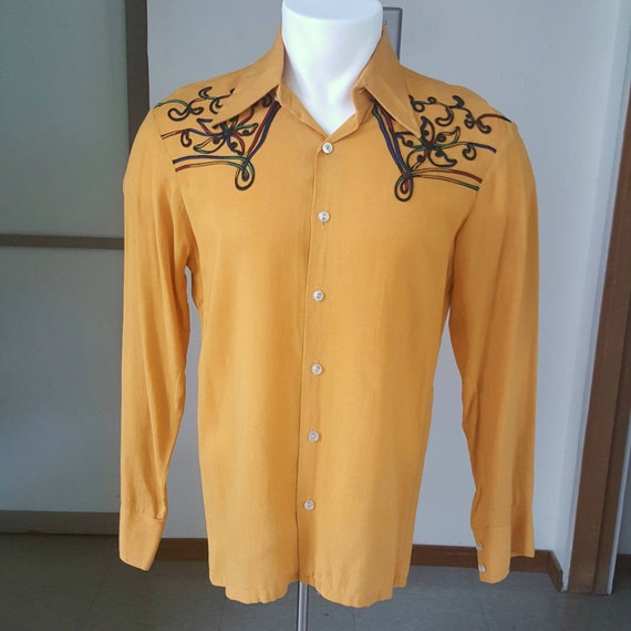 1950s vintage mens western shirt with chain stitch