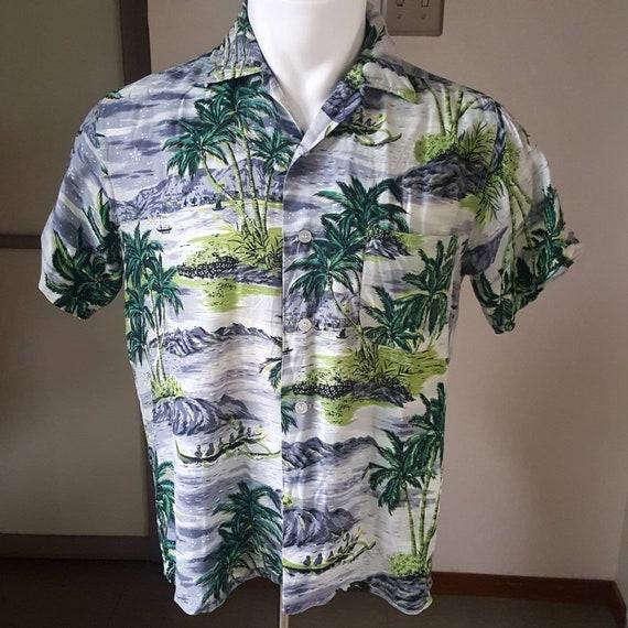 1950s Vintage Rayon Hawaiian Aloha Tiki Shirt M