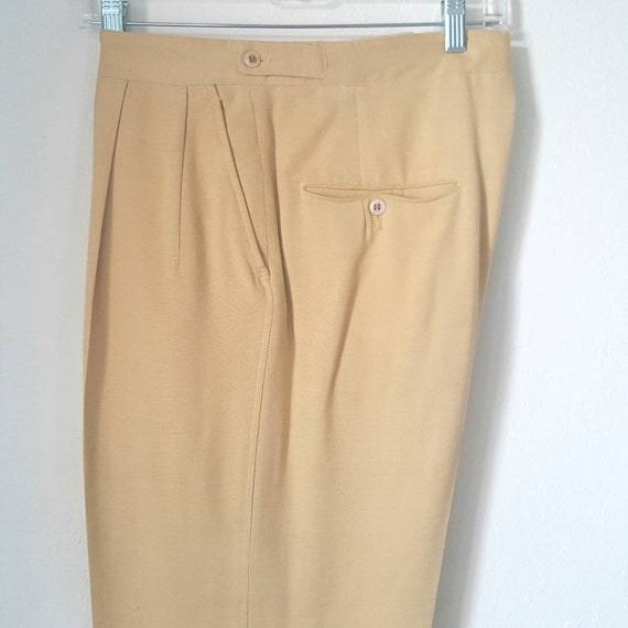 1940s Vintage Yellow Palm Beach Pants With Side C… - image 1