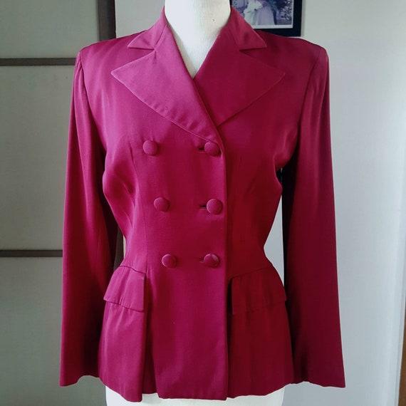 1940s Vintage Fitted Berry Color Gabardine Jacket