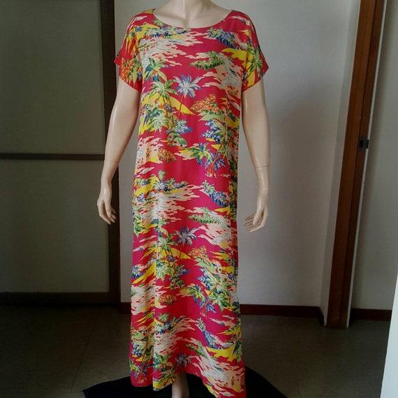 1940s Or 50s Vintage Rayon Hawaiian Dress L