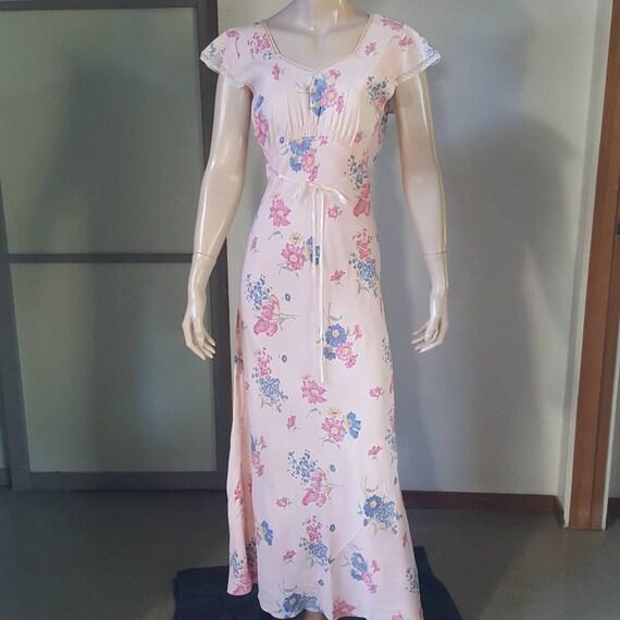 1940s Vintage Floral Print Gown Lounge Dress S