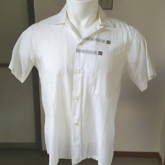 1950s Vintage Arrow Sheer White Loop Collar Shirt