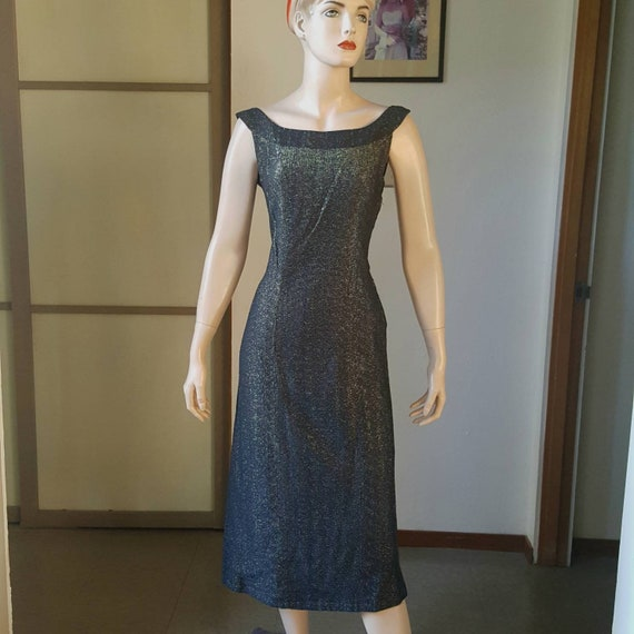 1950s Lurex Wiggle Dress With FishTail Back 27W