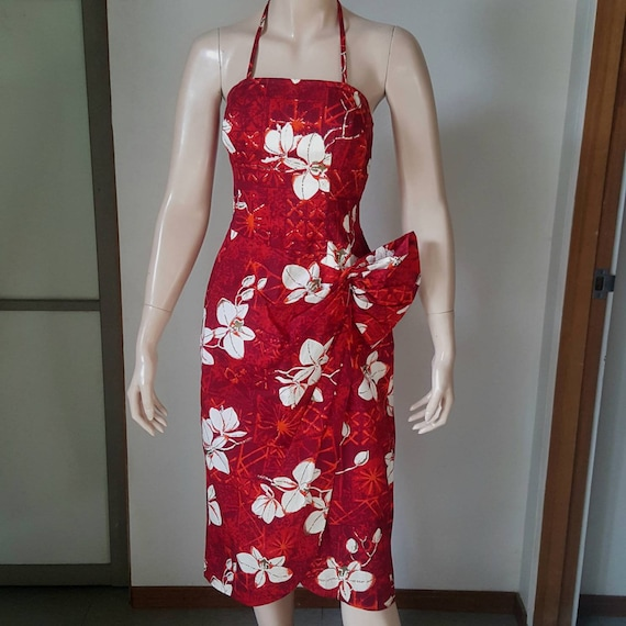 1950s Vintage Alfred Shaheen Sarong Wiggle Dress S