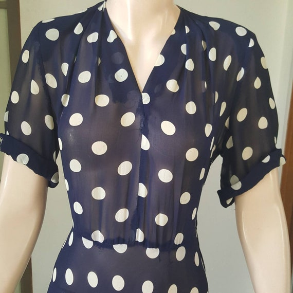 1940s Vintage Sheer Polka Dot Dress 30W