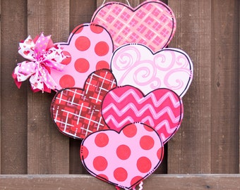 Heart Door Hanger Valentines Day Door Hanger Wooden Door Hanger Customized Door Hanger Valentine Wreath Hand Painted Door Hanger Love