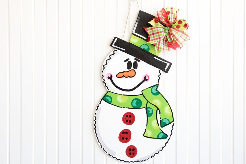 Snowman Door Hanger Winter Door Hanger Frosty The Snowman Etsy