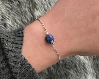 Blue Sodalite Gemstone Chain Bracelet // Gold or Silver Stainless Steel Chain, Gemstone Bracelet, Choice of Chain, Chakra Bracelet