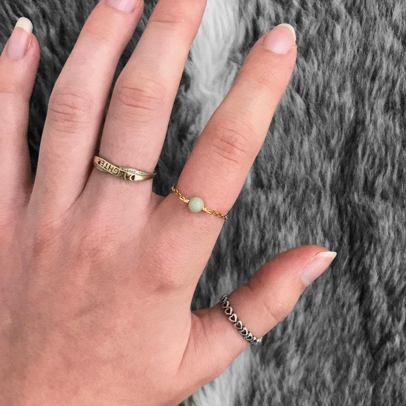 Chakra ring Amazonite Ring Stacking Ring Amazonite Chain Ring  18k Gold Plated Stainless Steel Chain Ring Gemstone Ring