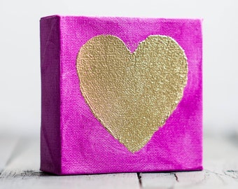 Mini Gold Heart Canvas