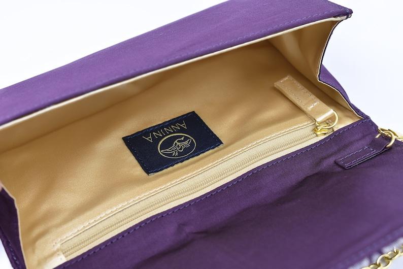evening clutch bag purple Kimono Obi bag