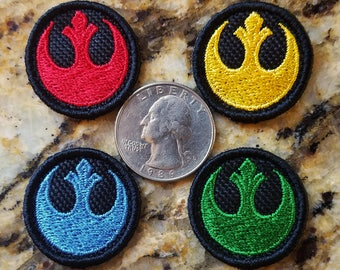 Rebel Alliance Patches/Resistance Patches. Tiny size. ~Quarter sized ~about 1.1 inch ~ inspired by Star Wars ~red ~yellow(gold) ~blue ~green