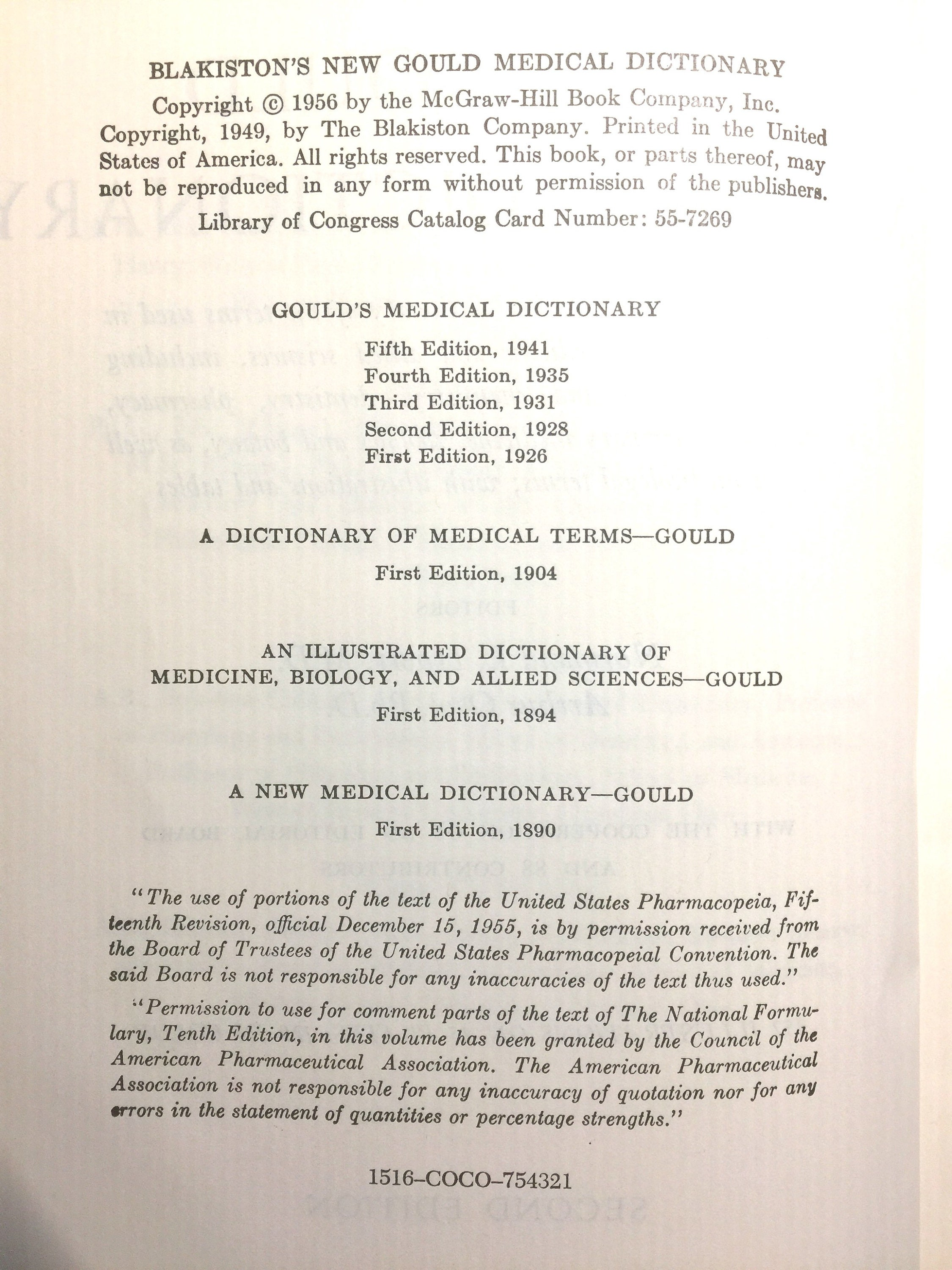 Blakiston's New Gould Medical Dictionary (illustrated) - 1956
