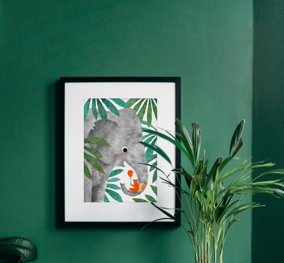 Elephant & Squirrel Recycled A4 Art Print, Eco Friendly Illustrated Wall Art for Bedroom, Nursery, Living Room, Unframed Jungle Print