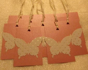 Set of 10 Polka Dot Butterfly Gift Tags, Handmade Gift Tags, Free Shipping