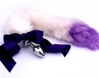 778d60a6c22 Purple  white purple tip petplay tail butt plug. Beautiful faux fur hand  dyed to create this custom kitten play tail - MATURE bdsm tail