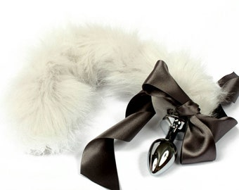 575af32d6 Silver petplay tail butt plug. Beautiful faux fur hand dyed to create this  custom kitten play tail - MATURE bdsm tail buttplug for pet play
