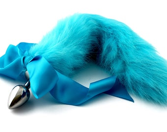 42f9de537 Bright blue hand dyed petplay tail butt plug. Beautiful faux fur hand dyed  to create this custom kitten play tail - MATURE bdsm tail