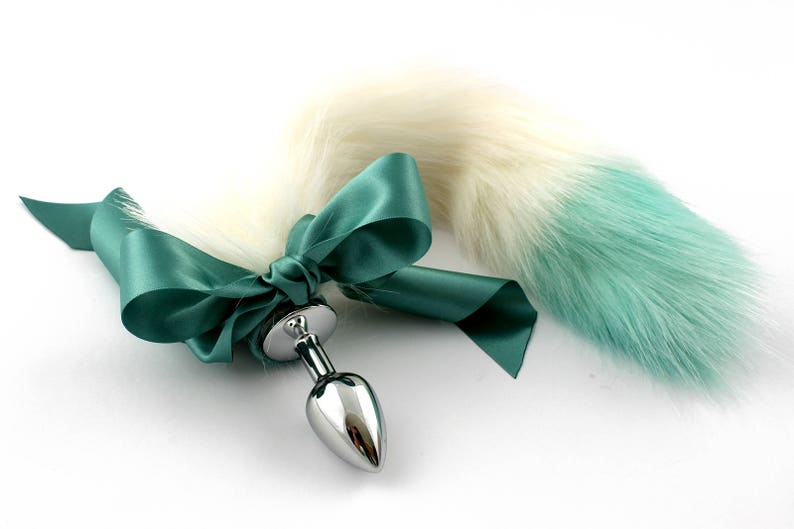 4afebd440 White and green dip dyed fur tail. Custom kitten play tail