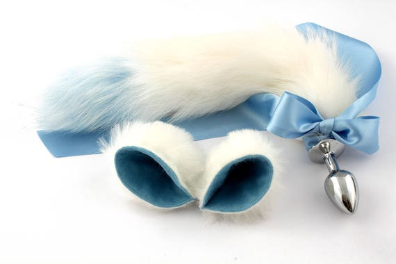 adc8ed3df05 Pet play set kitten tail and ears in white   blue cute