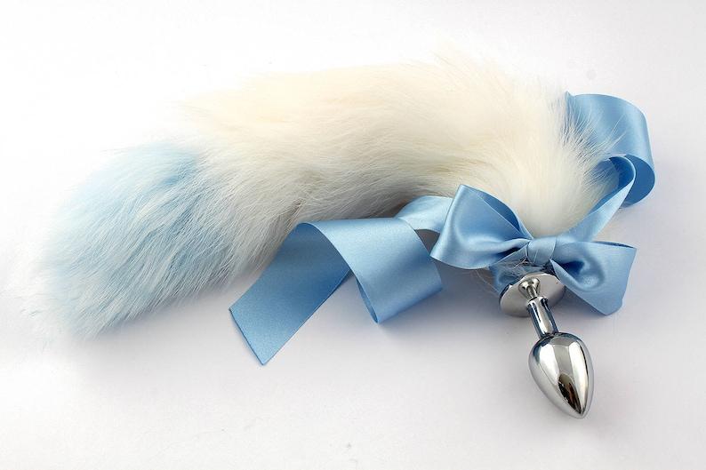 7e7c835cf Blue   white petplay tail plug butt plug. Beautiful faux fur