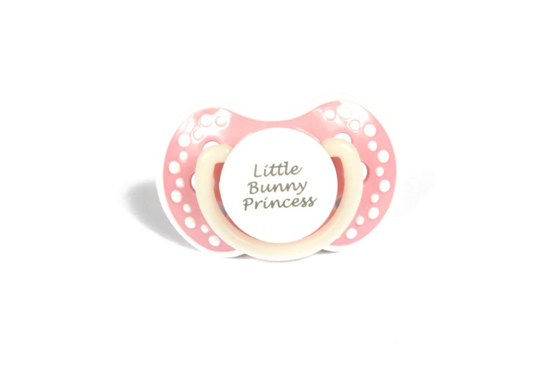 ABDL Adult baby pacifier  Cute pacifier with the words Little Bunny  Princess  Glow in the dark adult dummy in baby pink and white - nuk 3