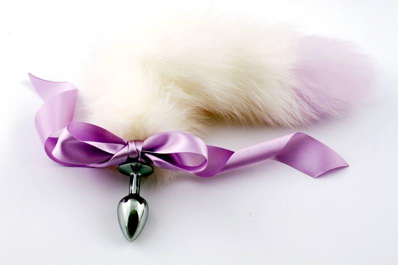 4b3aa5da3 Lilac  white purple tip petplay tail butt plug. Beautiful
